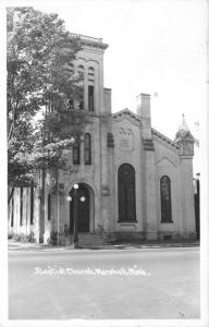 Marshall Michigan~Baptist Church~Lamp Post in Front of Entrance~1940s RPPC