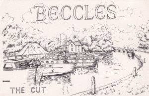 Beccles The Cut Suffolk Painting Postcard