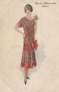 ART DECO ; Female wearing red paisley frock, 1910-20s