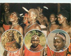 Kenya Postcard Ethnic tribal type Samburu warriors butterfly stamp