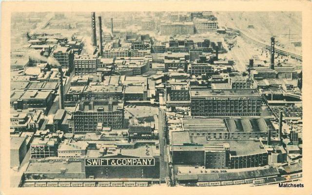 Aerial CHICAGO, ILLINOIS Swift Company Linen Curt Teich postcard 3874