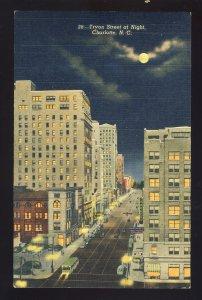 Charlotte, North Carolina/NC Postcard, Aerial View Of Tryon Street At Night