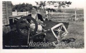 Gaspe, PQ Canada, du Canada Native Handiwork, Spinning  Real Photo Native Han...