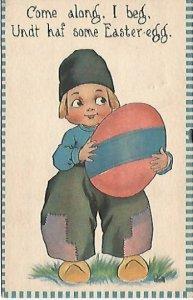 Dutch Boy with Giant Easter Egg Artist Signed Vintage Postcard Come along.