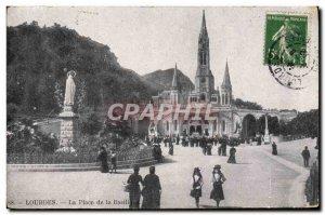 Old Postcard Lourdes Place de la Basilique