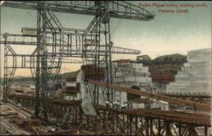 Panama Canal Construction Pedro Miguel Locks c1910 Postcard