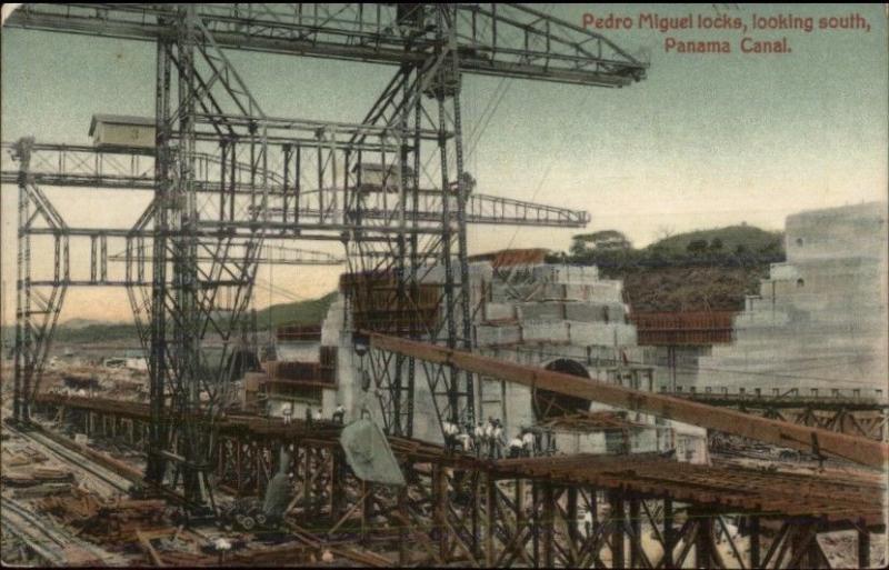 Panama Canal Construction Pedro Miguel Locks c1910 Postcard