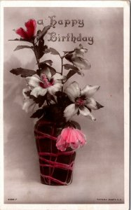 A Happy Birthday - Vintage 1912 Tinted Rotary Photo Postcard - RPPC