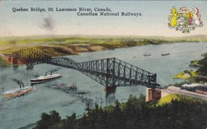 Coat of Arms,  Quebec Bridge,  St. Lawrence River, Canadian National Railways...
