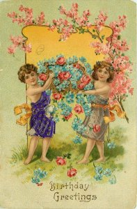 Children with Flowers Embossed Gold Gilded Happy Birthday Greetings Postcard