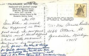 Wheeling Illinois~Palwaukee Motor Inn~Pool~Tennis Court~1970s Postcard