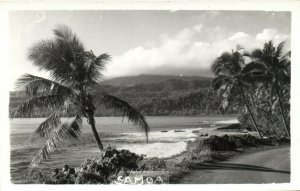 PC CPA SAMOA, PACIFIC, BEACH SCENE AND PALM TREES, Vintage Postcard (b19442)