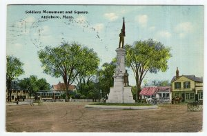 Attleboro, Mass, Soldiers Monument and Square