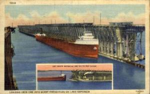 Iron Ore into Giant Freighters Lake Superior MN Postal Used Unknown