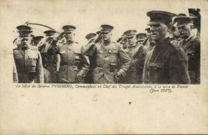 WWI Soldiers bringing Salute to US Army Commander General Pershing in France