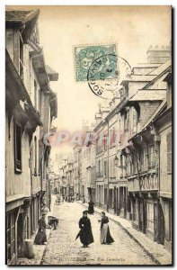 Old Postcard Honfleur La Rue Gambetta