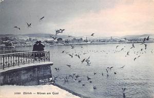 Switzerland Postcard Zurich Moven am Quai