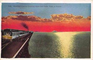 Utah Train Postcard Overland Limited Crossing Great Salt Lake, Utah, USA Unused
