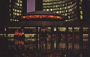 Night View, Nathan Philips Square, Moore sculpture The Archer, City Hall il...