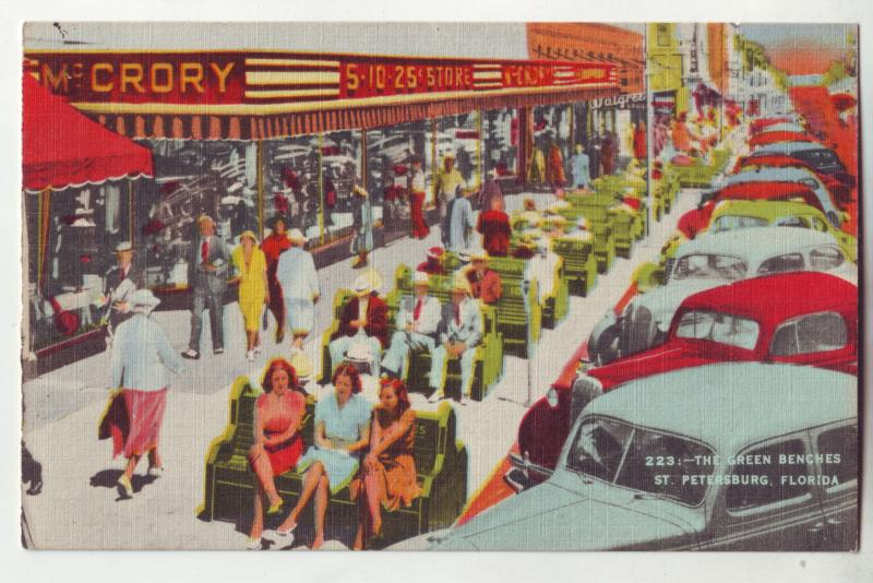 P1038 old linen card many old cars mc crory 5-10-25 store st petersburg florida