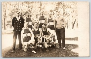 Eureka Illinois~College Basketball Team~Red Devils Pic~c1912 Real Photo Postcard