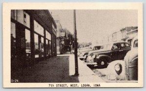 Logan IA~7th Street West~1940s Cars Parked at Shops~Drug Store~Street Clock~B&W