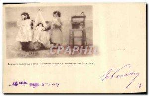 Old Postcard Doll interrogate the pouis bad sign irregular beats