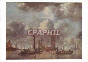 Postcard Modern National Gallery Cappellle River Scene With State Barge