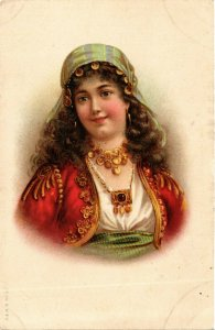 PC CPA ARABIAN TYPES AND SCENES, LADY WEARING JEWELS, Vintage Postcard (b17443)