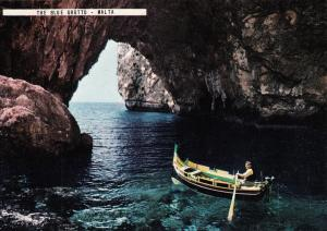 Malta the Blue Grotto boat postcard