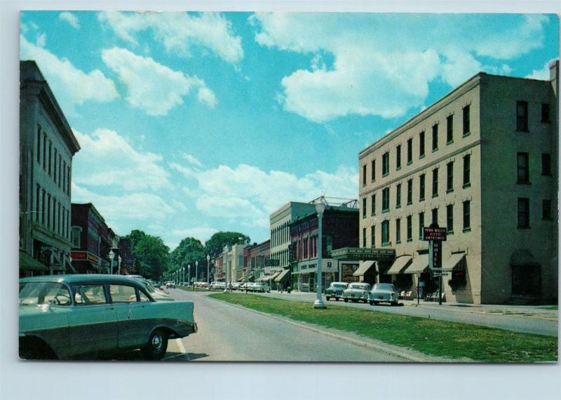 Postcard PA Wellsboro c1950s Downtown Street View O05
