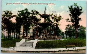 Parkersburg, West Virginia Postcard Jackson Memorial Fountain, City Park 1911