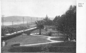 Long Beach California~Park Scene~Lady in White Victorian Dress on Path~1905 PC