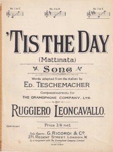 Tis The Day Ruggiero Leoncavallo Olde Song Sheet Music
