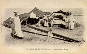 1910 Algerian PC Showing Tapestry Weaving Outside Tents in South Oran Desert
