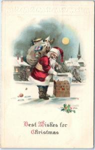 CHRISTMAS GREETING   SANTA by the CHIMNEY   c1920s        Postcard
