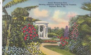 Waterfront Park American Legion Memorial Fountain Daytone Florida Curteich