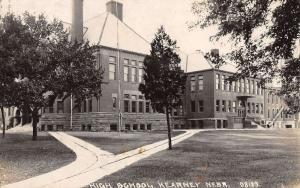 Kearney Nebraska High School Street View Real Photo Antique Postcard K16429