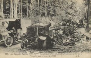 CPA Militaire (Dep.62) Convoi automobile allemand incendie par la (92042)