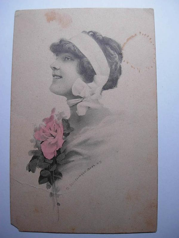 1914 Art Nouveau WOMAN WITH SCARF ON HEAD Postcard y8988