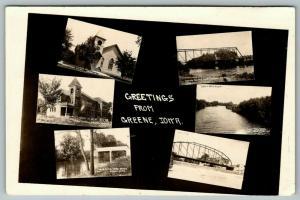 Greene Iowa~Mini Multi Views~Gates Bridge~High School~Crab Apple Creek~1915 RPPC