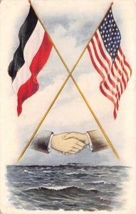 Patriotic~Hands Across the Sea~Crossed US & German Empire Flags~1905 Nat'l Art