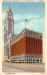 Ohio Columbus Deshler Wallick Hotem R K O Theatare & American Insurance Union...