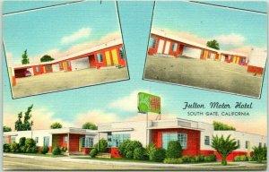 South Gate, California Postcard FULTON MOTOR HOTEL Firestone Blvd. c1950s Unused