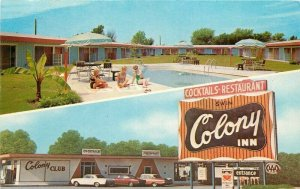 Autos Pool Colony Inn 1960s Postcard roadside Joplin Missouri MWM 6040