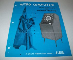 Nutting Astro Computer Arcade FLYER Original 1969 Vintage Game Wizard Lady Art