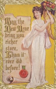 NEW YEARS, 1910; Woman in white dress with horn of plenty, poem