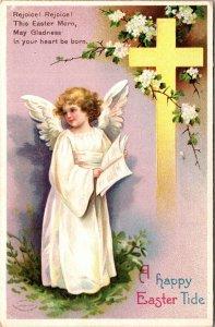 Easter Postcard Little Angel Girl Cross Flowers~137856