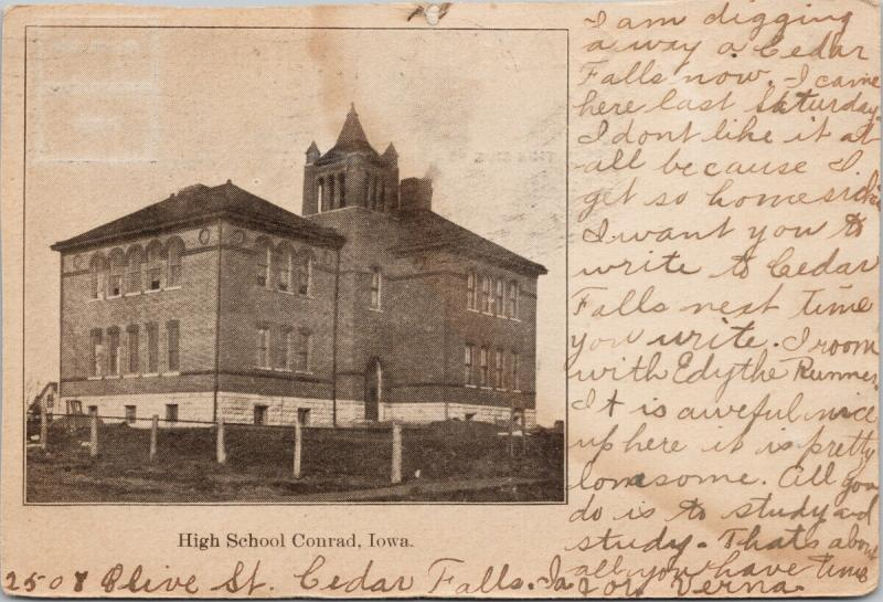 High School Conrad Iowa IA c1907 Postcard E40 *As Is