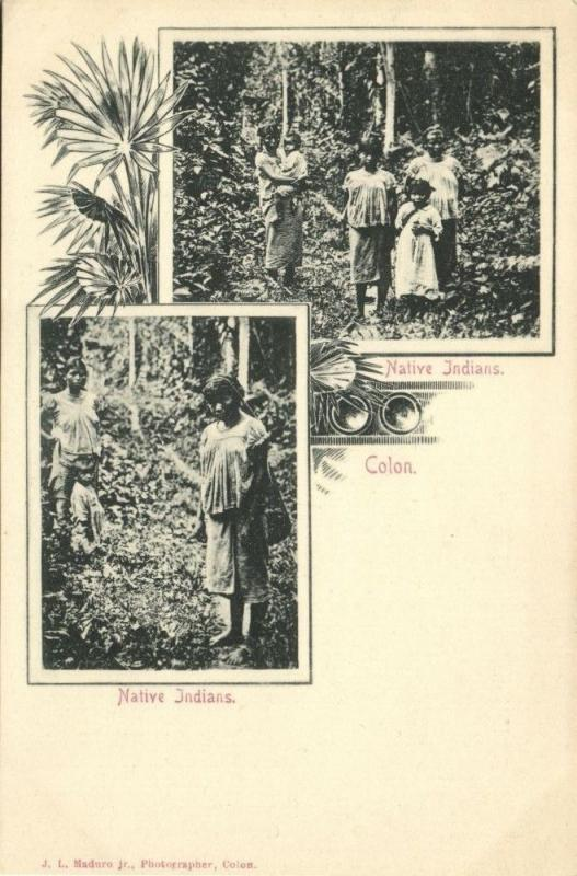 Costa Rica, C.A., COLON, Native Indians (1899) J.L. Maduro Postcard